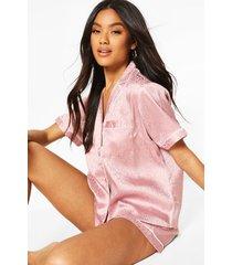 satijnen jacquard luipaardprint pyjama set met shorts, roze