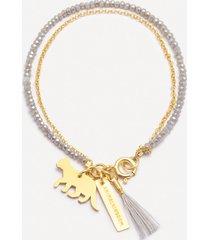 bransoletka be free złocona z szklanymi szarymi kryształami
