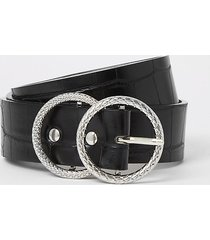 river island womens black croc embossed double ring belt