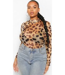 plus leopard print mesh high neck longsleeve top, brown