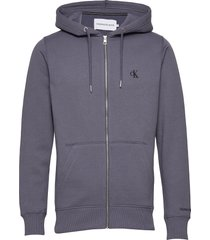 ck essential reg zip through hoodie blå calvin klein jeans
