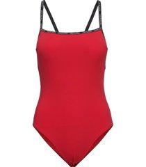 square neck piece-rp baddräkt badkläder röd calvin klein