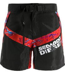 diesel x sea-doo buckle strap swim shorts - black