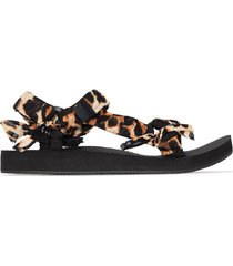 arizona love leopard-print trekky sandals - black