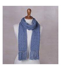 cable knit scarf, 'soft winter cerulean' (peru)