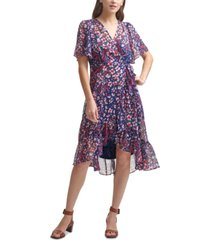 calvin klein floral-print chiffon high-low dress