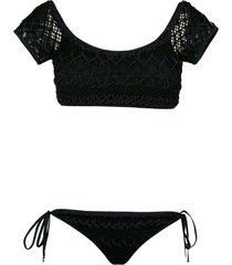 amir slama woven bikini set - preto