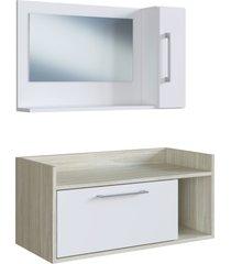 conjunto de balcã£o e espelheira p/ banheiro bentes branco/nogal e estilare mã³veis - branco - dafiti