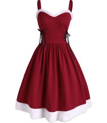 christmas faux fur insert lace up party dress