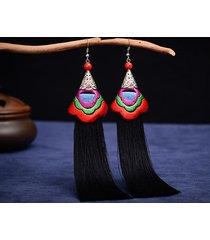 orecchini etnici perline con ricami floreali orecchini pendenti lunghi vintage con nappe per donne