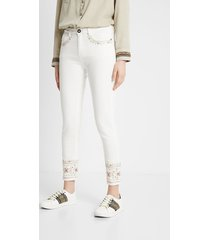 skinny ethnic embroidery jeans - white - 34