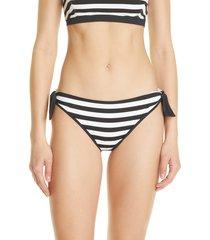 women's max mara stripe bikini bottoms, size 12 - black