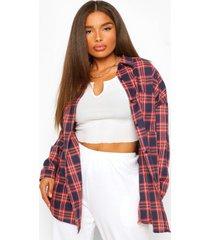 plus oversized boyfriend flannel shirt, navy