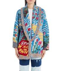 women's alanui love is universal wool blend cardigan, size small - blue