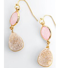 casey stone double drop earrings - pale pink