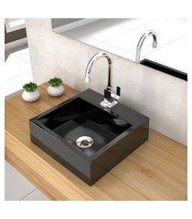 cuba de apoio p/ banheiro compace veneza q395w quadrada preta