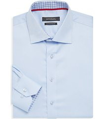 contemporary-fit gingham-trim solid dress shirt