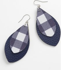 maurices womens navy & white plaid teardrop earrings blue