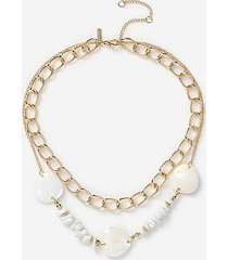 *chipping shell multirow necklace - cream