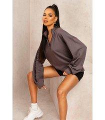 mix & match oversized edition sweater met rits, gewassen zwart