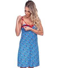 camisola click chique alã§a conforto amamentaã§ã£o azul - azul - feminino - dafiti