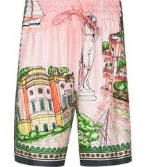 casablanca x browns 50 graphic-print bermuda shorts - pink