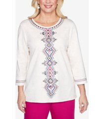 alfred dunner three quarter sleeve medallion center embroidered knit top