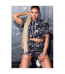 trendy set shorts+crop t-shirt met capuchon zwart