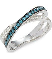 14k white gold, white & blue diamond crossover ring
