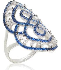 anel arabesco cravejado safira