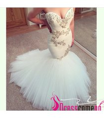 2015 sexy mermaid sweetheart plus size tulle white wedding dresses bride gown