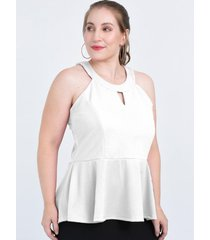 top blanco circe peplum americano