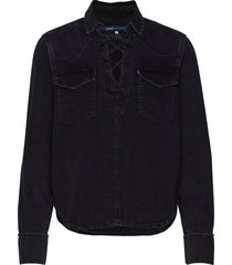 lmc denim lace up top lmc blac långärmad skjorta svart levi's made & crafted