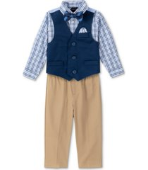 nautica baby boys shirt, solid twill vest, pants & bowtie set
