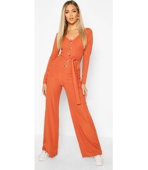 long sleeve horn button ribbed tie jumpsuit, burnt orange