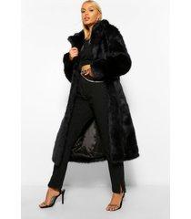 lange luxe faux fur jas, black