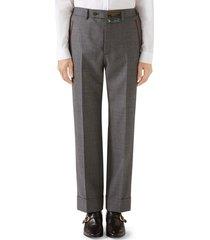 men's gucci stitch detail wool sharkskin dress pants
