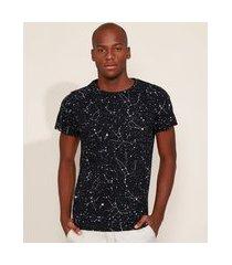 camiseta masculina slim estampada de constelações manga curta gola careca preta
