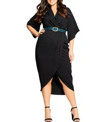 plus size women's city chic faux wrap dress, size x-large - black