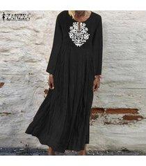 zanzea de mujeres con cuello en v casual impresión floral larga camisa de vestir de gran tamaño kaftan vestido a media pierna -negro