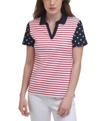 tommy hilfiger cotton colorblocked printed polo top