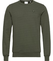 elm owl badge sweat - gots/vegan sweat-shirt tröja grön knowledge cotton apparel