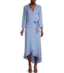 ganni women's floral wrap dress - forever blue - size 36 (4)