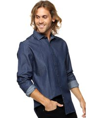 camisa azul tommy hilfiger keaton indigo shirt - regular fit