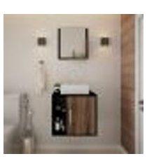 conjunto para banheiro gabinete com cuba q32 e espelheira soft 500 preto ônix com nogal
