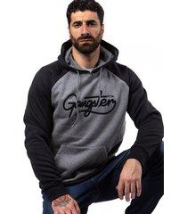 hoodie plus canguro cord negro gangster