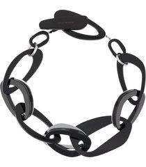 emporio armani oversized hoop necklace - black