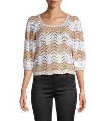 525 america women's wavy stripe pointelle sweater - toast - size s