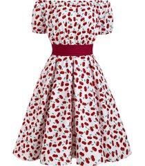 off shoulder cherry print belted retro dress
