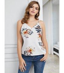 yoins blanco ajustable cuello correa floral escote en v camiseta sin mangas